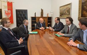 Sachsen und der BBT: LH Durnwalder hat die von Staatssekretär Werner angeführte Delegation heute über den BBT informiert