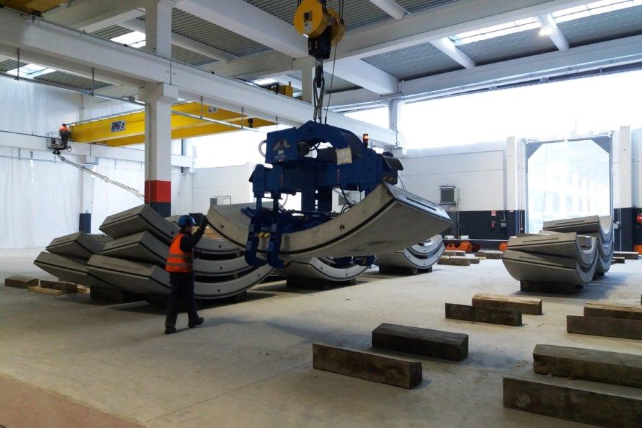 Produktion der Betonteile in der Tübbingfabrik im Riggertal angelaufen