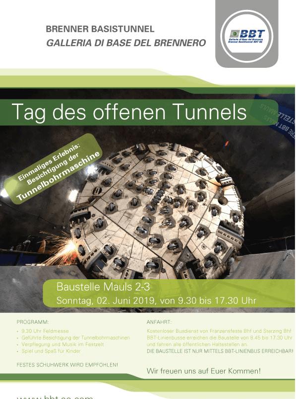 Tag des offenen Tunnels auf der Baustelle Mauls, 02.06.2019
